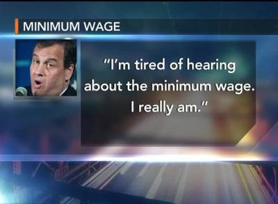 News video: New Jersey Gov. Chris Christie Says He Tired Of Minimum Wage Talk